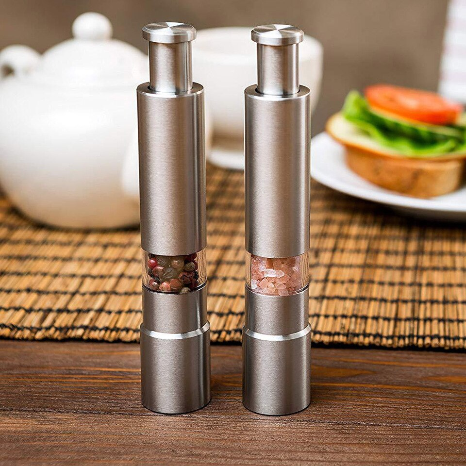 Copy of Manual Pepper Mill Salt Shakers Thumb Push One-handed Pepper Grinder Stainless Steel Spice Sauce Grinders Stick Kitchen Tools