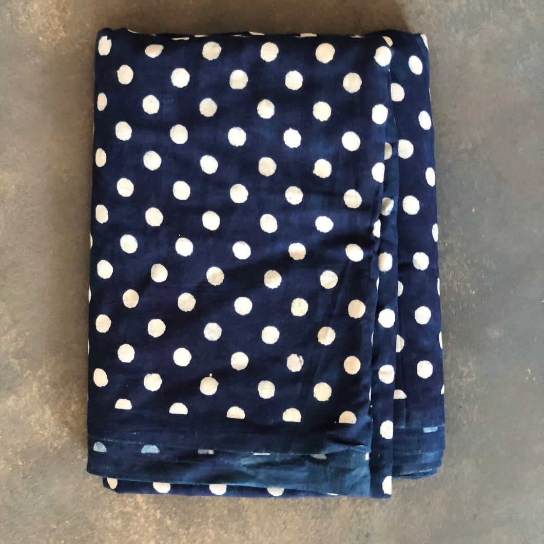 Indigo Polka Dot Fabric