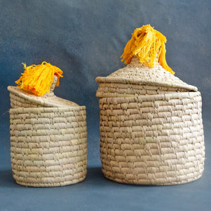 sabai storage box with yellow pom pom
