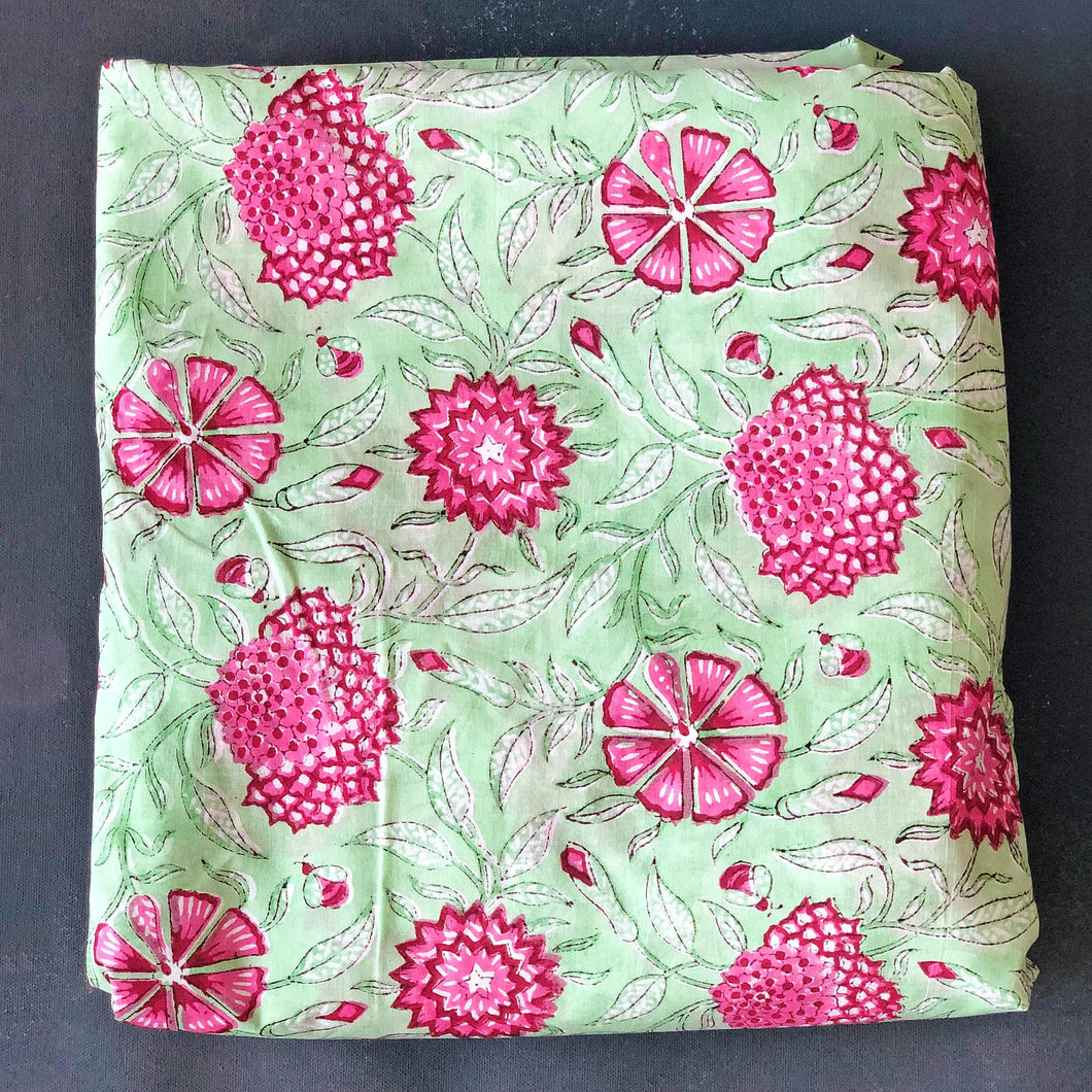 Green & Pink Floral Jaal Blockprint Cotton Fabric