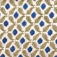 Load image into Gallery viewer, Blue Lotus Jaal Blockprint Cotton Fabric