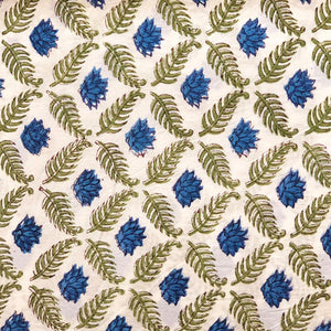 Blue Lotus Jaal Blockprint Cotton Fabric