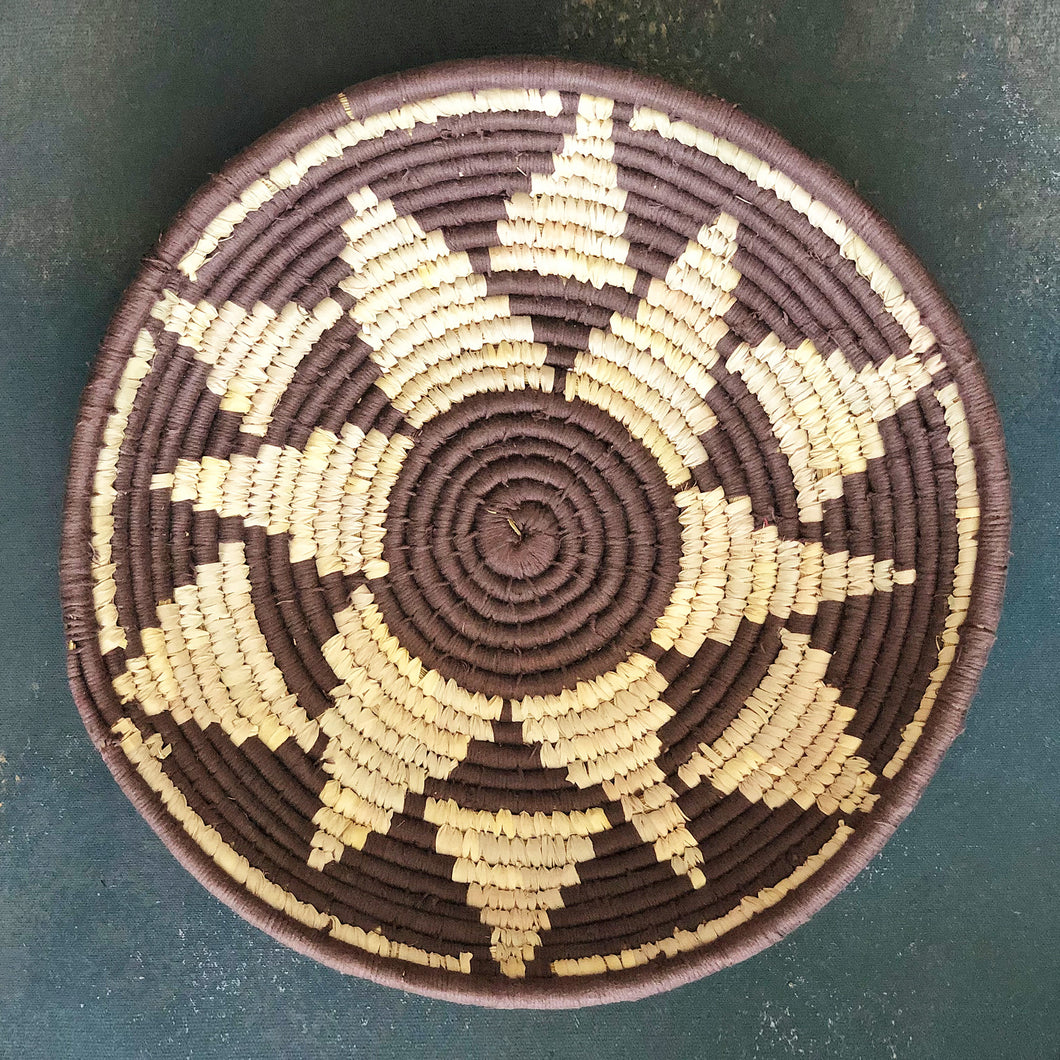 Brown Flower Star Handwoven Sabai Grass Basket
