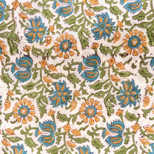 Load image into Gallery viewer, Orange Marigold Floral Jaal Blockprint Cotton Fabric (min. 2m)