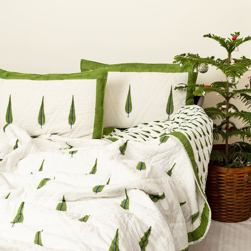 Gulmohar Double Bed Reversible Quilt Set- Small Stain