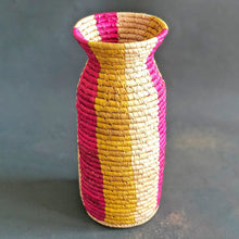 Load image into Gallery viewer, Pink and Yellow Stripe Sabai Vase