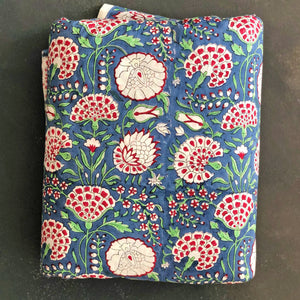 blue red floral fabric