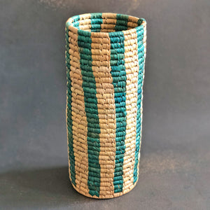 Blue and Natural Stripe Sabai Vase