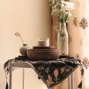 Black Floral Blockprint Cotton Tea Towel cum Dinner Napkin