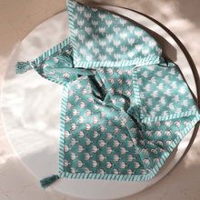 Load image into Gallery viewer, Aqua Lotus Blockprint Cotton Tea Towel cum Dinner Napkin