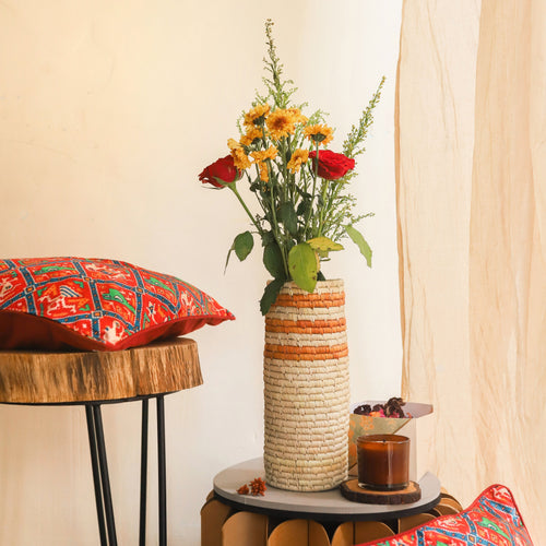 brown stripe sabai handmade vase