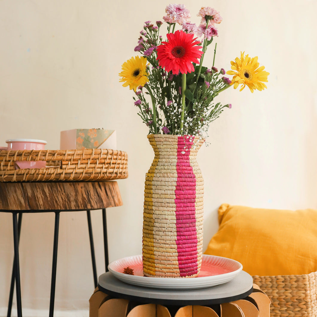 Pink and Yellow Stripe Sabai Vase