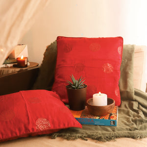 red golden silk cushion cover
