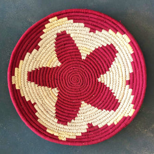 Maroon Star Handwoven Sabai Grass Basket