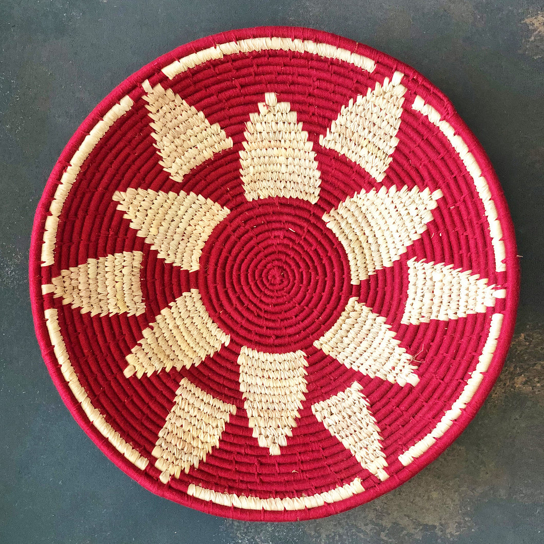 Maroon Flower Handwoven Sabai Grass Basket