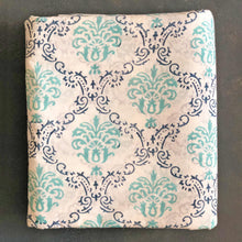 Load image into Gallery viewer, Green & Blue Mughal Bouquet Blockprint Cotton Fabric (min. 2m)