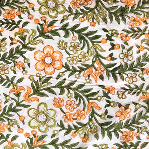 Orange & Green Madhumalti Blockprint Cotton Fabric (min. 2m)
