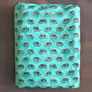 Blue Elephant Blockprint Cotton Fabric