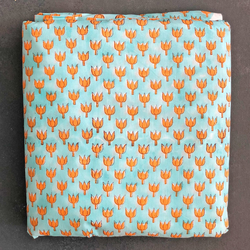 Orange and Aqua Lotus Blockprint Cotton Fabric (min. 2m)