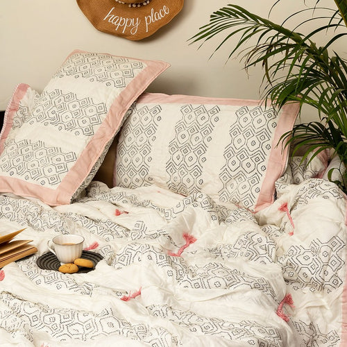 Ikat Embroidered Double Bed Jaipuri Reversible Quilt Set
