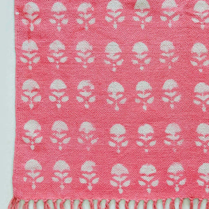 pink floral cotton rectangle rug