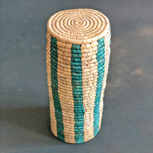 Load image into Gallery viewer, Blue and Natural Stripe Sabai Vase