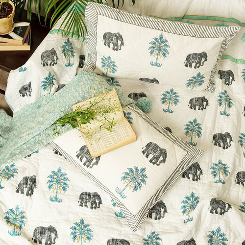 Tropical Elephant and Palm Embroidered Double Bed Jaipuri Reversible Quilt Set