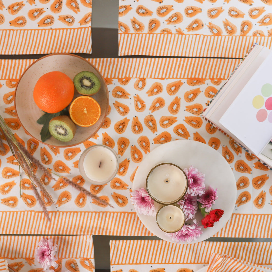 papaya print table runne