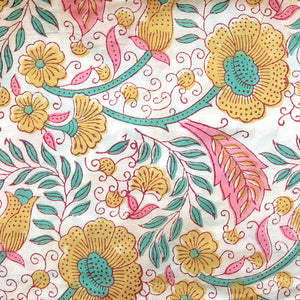 Candy Flowers Blockprint Cotton Fabric