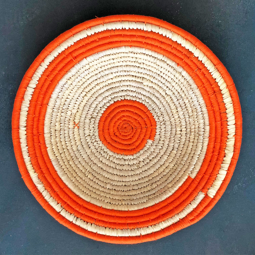 Orange Coiled Circular Handwoven Sabai Grass Basket