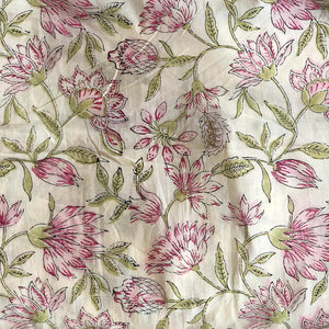 Pastel Floral Jaal Blockprint Cotton Fabric