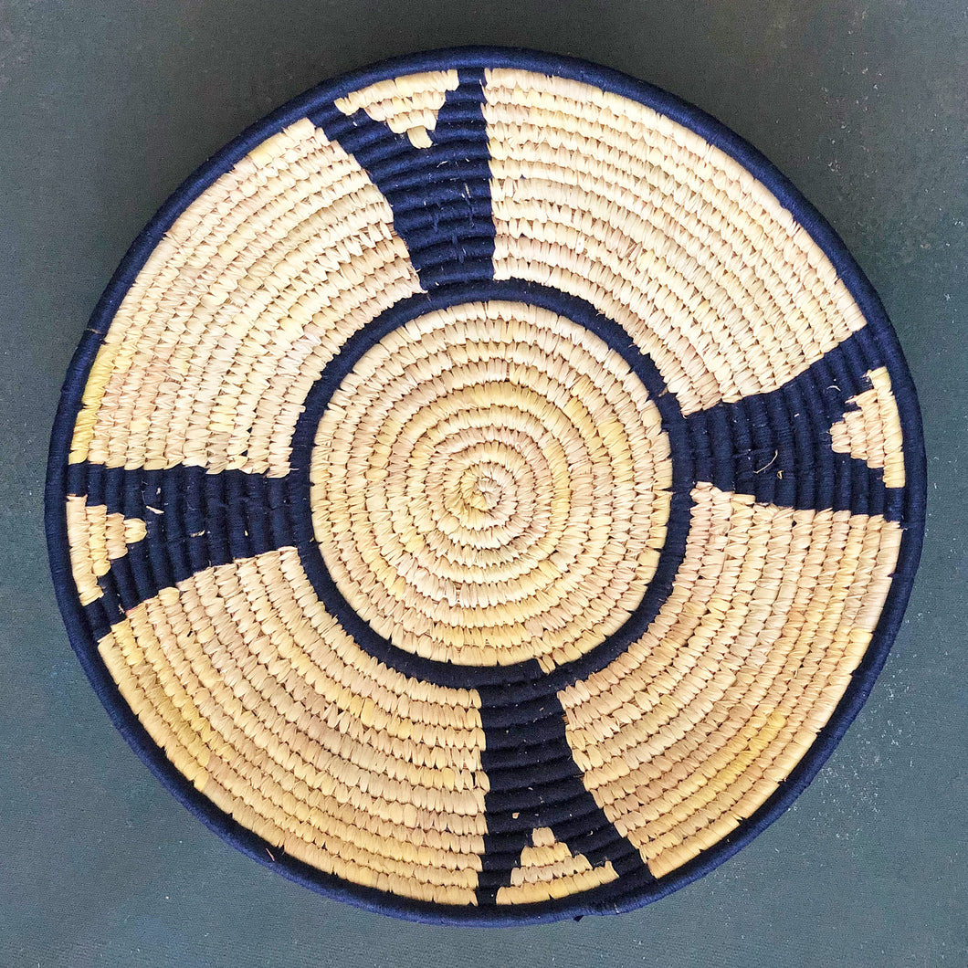 Navy Blue African Handwoven Sabai Grass Basket
