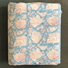 Load image into Gallery viewer, Blue Dahlia Blockprint Cotton Fabric (min. 2m)