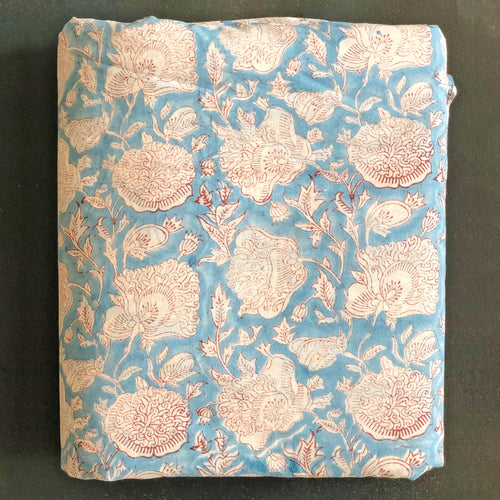 Blue Dahlia Blockprint Cotton Fabric