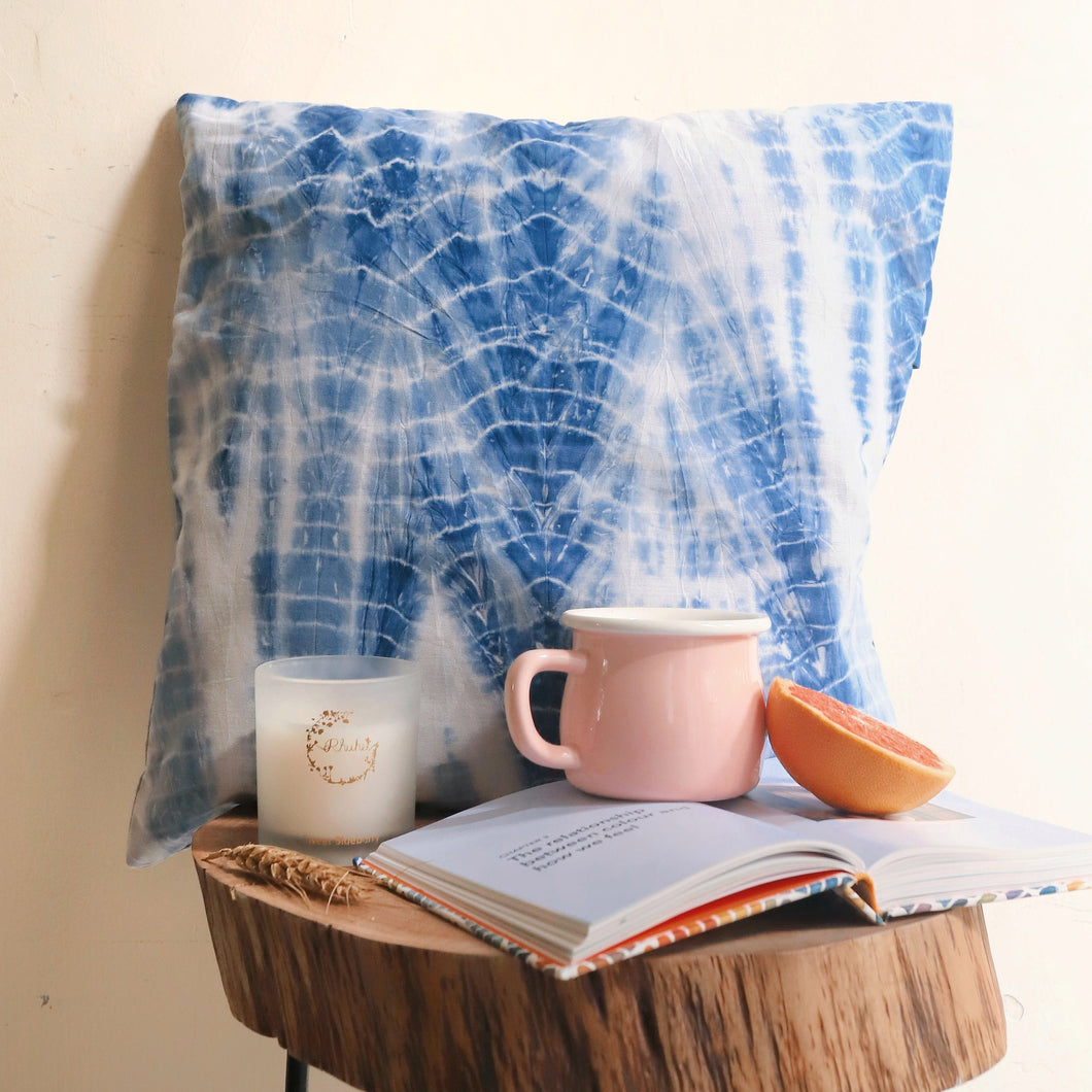 indigo shibori cushion cover