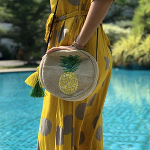 Pineapple Rafia Embroidered Cross Body Bag