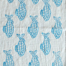 Load image into Gallery viewer, Blue Blockprinted Fish Tea Towel Set