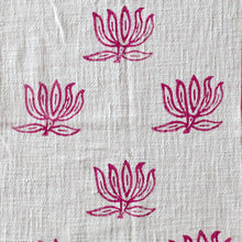 Pink Blockprinted Lotus Tea Towel Set (1 pc, set of 2)