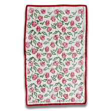 Load image into Gallery viewer, Pink & Green Pomegranate Blockprinted Tea Towel Set