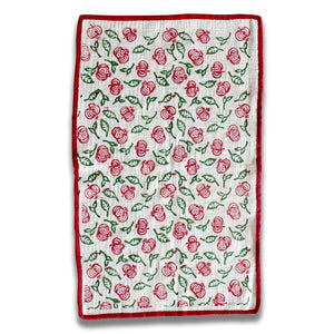 Pink & Green Pomegranate Blockprinted Tea Towel Set