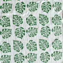 Load image into Gallery viewer, Green Blockprinted Monstera Tea Towel Set