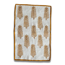 Brown Blockprinted Fern Tea Towel Set (1 pc, set of 2)