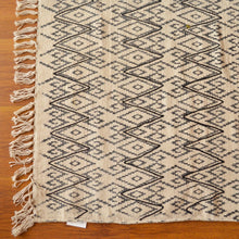 White Abstract Embroidered Cotton Rug - Limited Edition