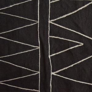 Black Morroccon Embroidered Cotton Rug