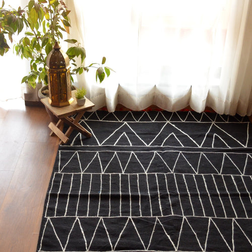 Black Geometric Embroidered Cotton Rug