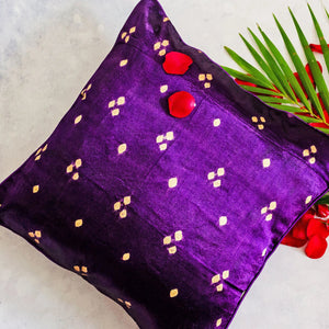 Purple Bandhni Mashru Silk Cushion Cover