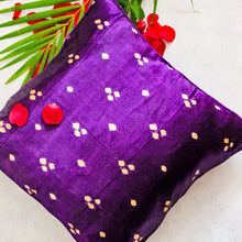 Load image into Gallery viewer, Purple Bandhni Mashru Silk Cushion Cover