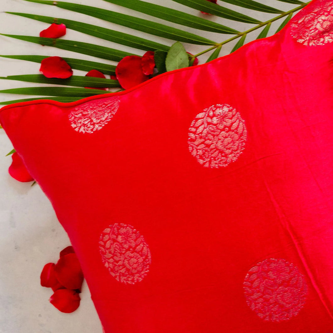 Red Gold Mashru Silk Cushion Cover