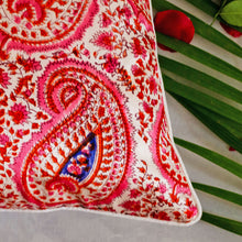 Load image into Gallery viewer, Pink Paisley Mashru Silk Cushion Cover