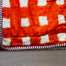 Load image into Gallery viewer, Orange Abstract Double Bed Jaipuri Reversible Quilt Set